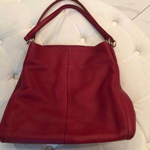 Red leather Coach shoulder bag